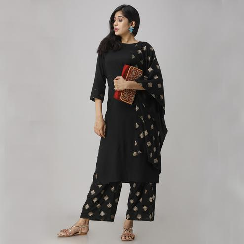 Zyla Radiant Black Colored Party Wear Foil Printed Straight Calf Length Kurti-Palazzo Set With Dupatta