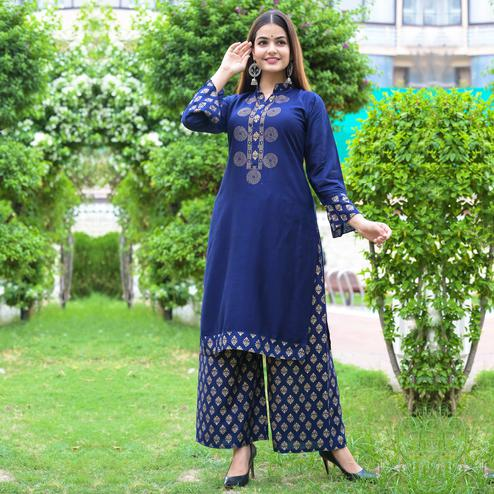 Zyla Mesmeric Blue Colored Party Wear Embellished Straight Calf Length Kurti-Palazzo Set