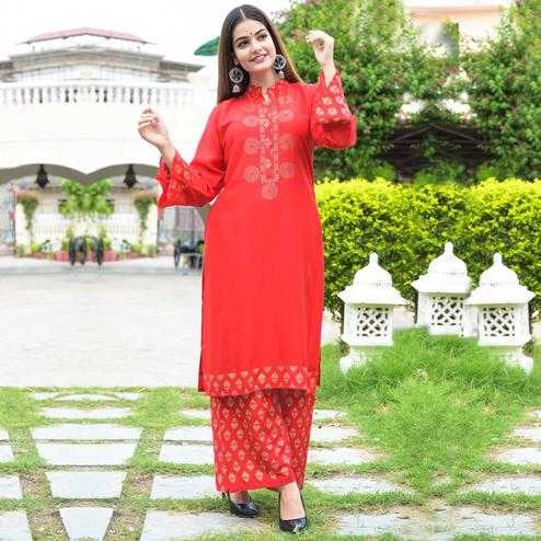 Zyla Unique Red Colored Party Wear Embellished Straight Calf Length Kurti-Palazzo Set