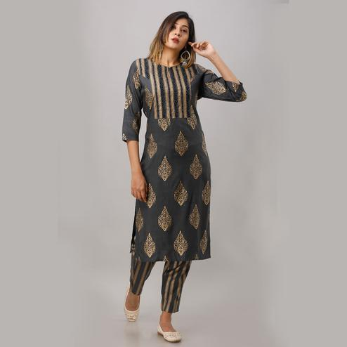 Zyla Magnetic Dark Grey Colored Party Wear Embellished Straight Calf Length Kurti-Pant Set