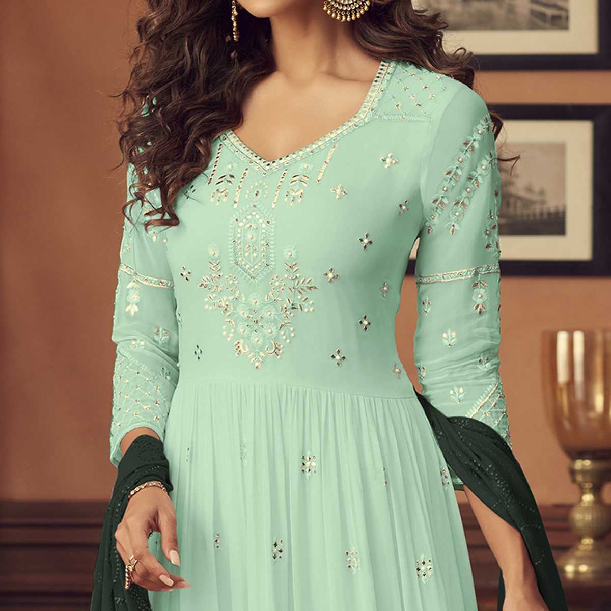 Intricate Sky Blue Colored Party Wear Embroidered Faux Georgette Palazzo Suit