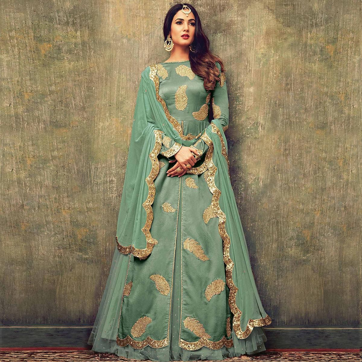 Exceptional Green Colored Partywear Embroidered  Heavy Georgette Dual Bottom Suit