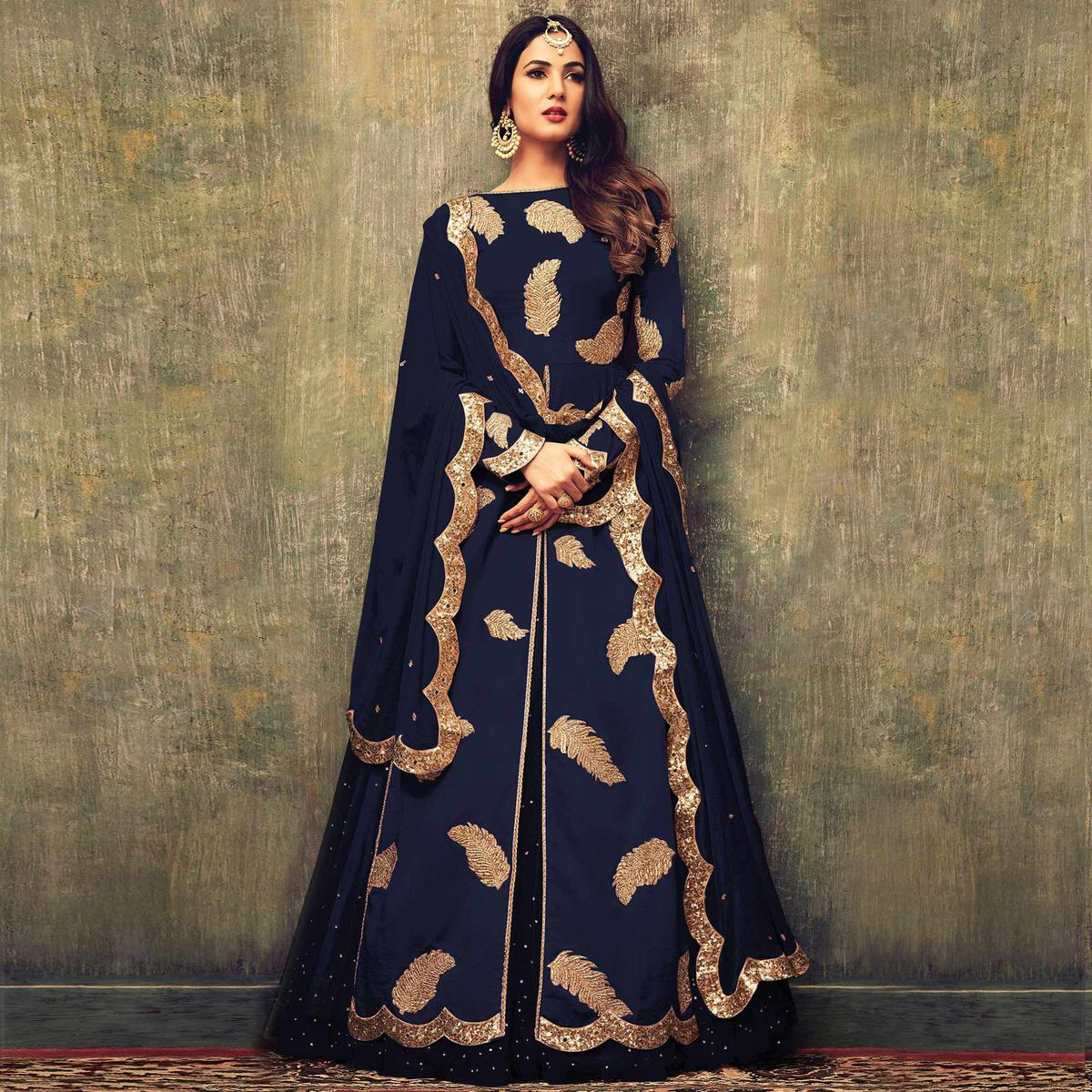 Mesmeric Navy Blue Colored Partywear Embroidered  Heavy Georgette Dual Bottom Suit
