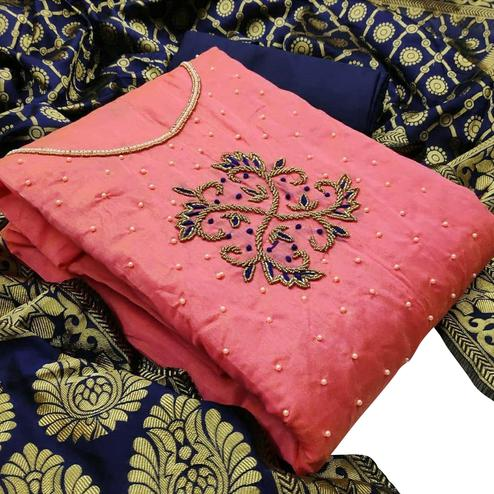 Magnetic Pink Colored Festive Wear Woven Chanderi Silk Dress Material