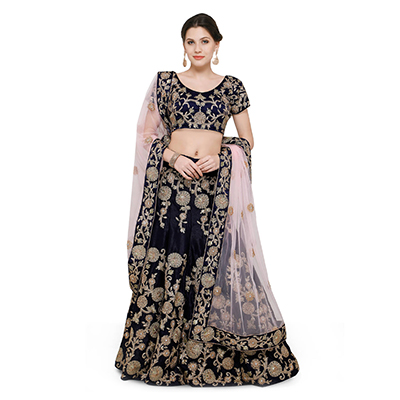 Beautiful Navy Designer Embroidered Velvet Lehenga Choli