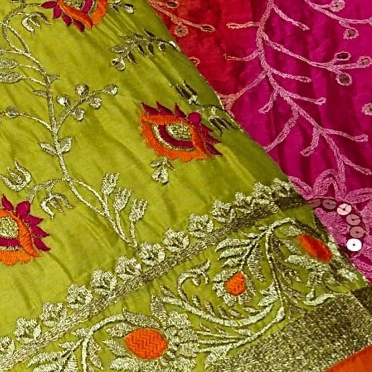 Imposing Green Colored Partwear Embroidered Chanderi Cotton Dress Material
