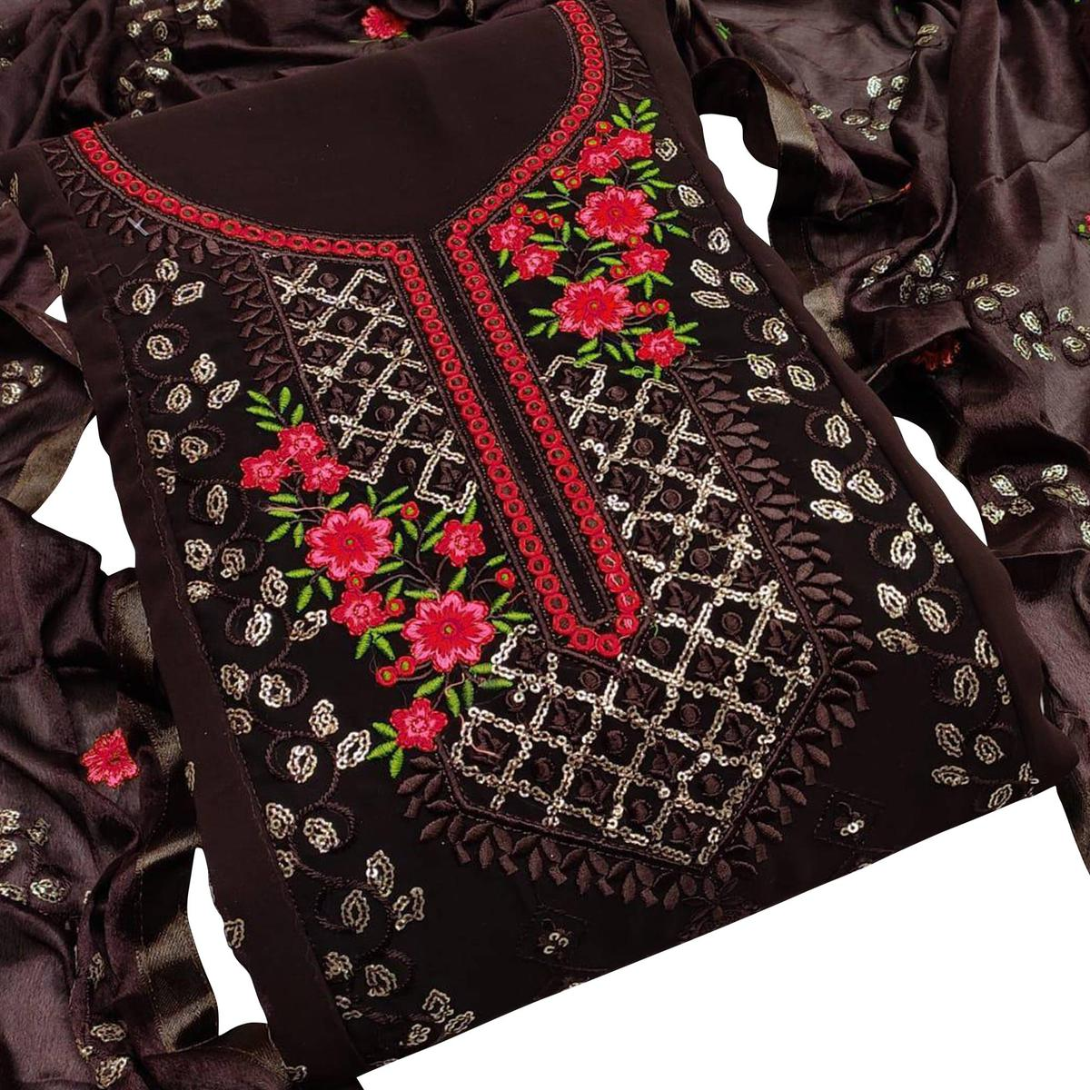 Majesty Dark Brown Colored Casual Embroidered Georgette Dress Material