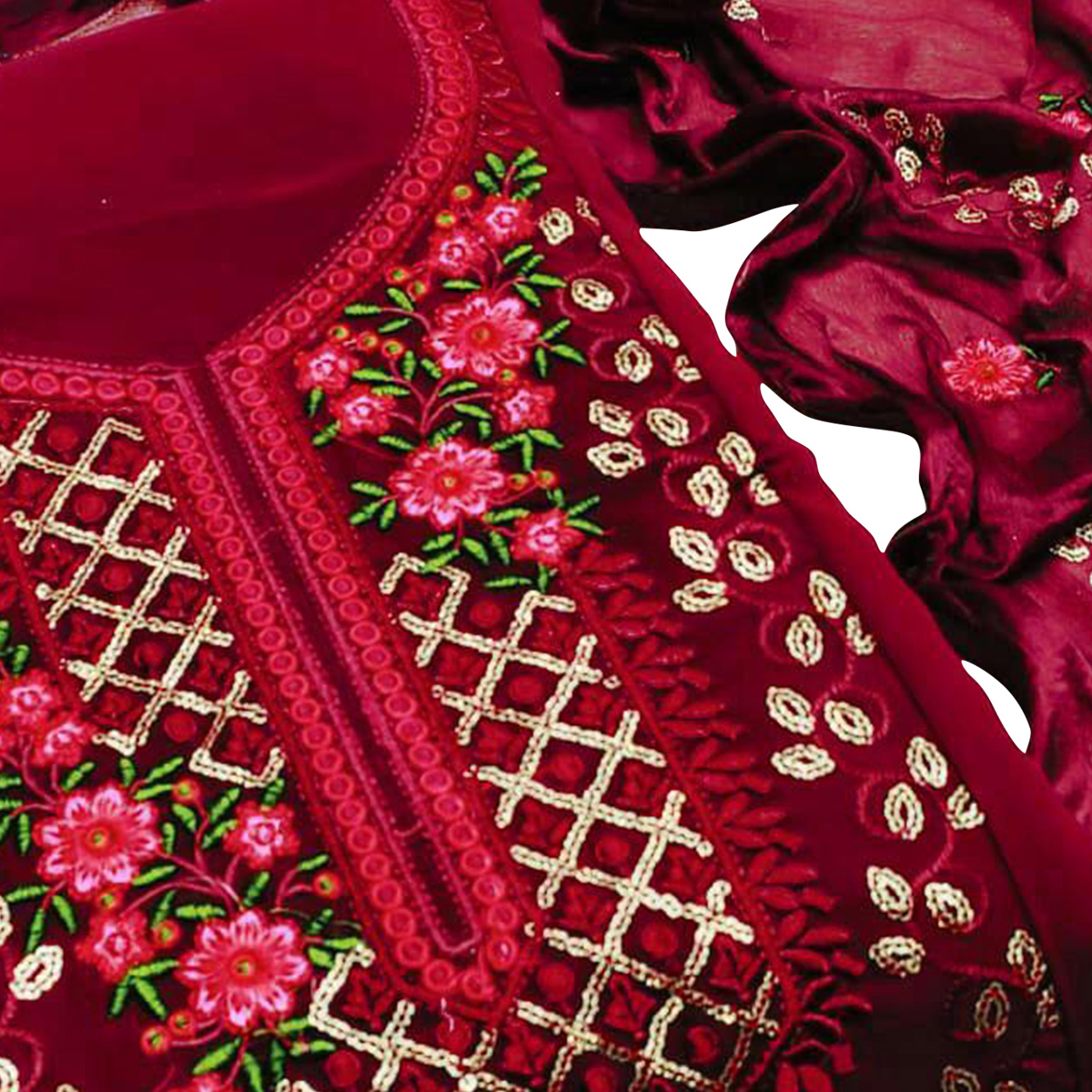 Impressive Maroon Colored Casual Embroidered Georgette Dress Material