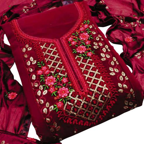 Impressive Maroon Colored Partywear Embroidered Georgette Dress Material