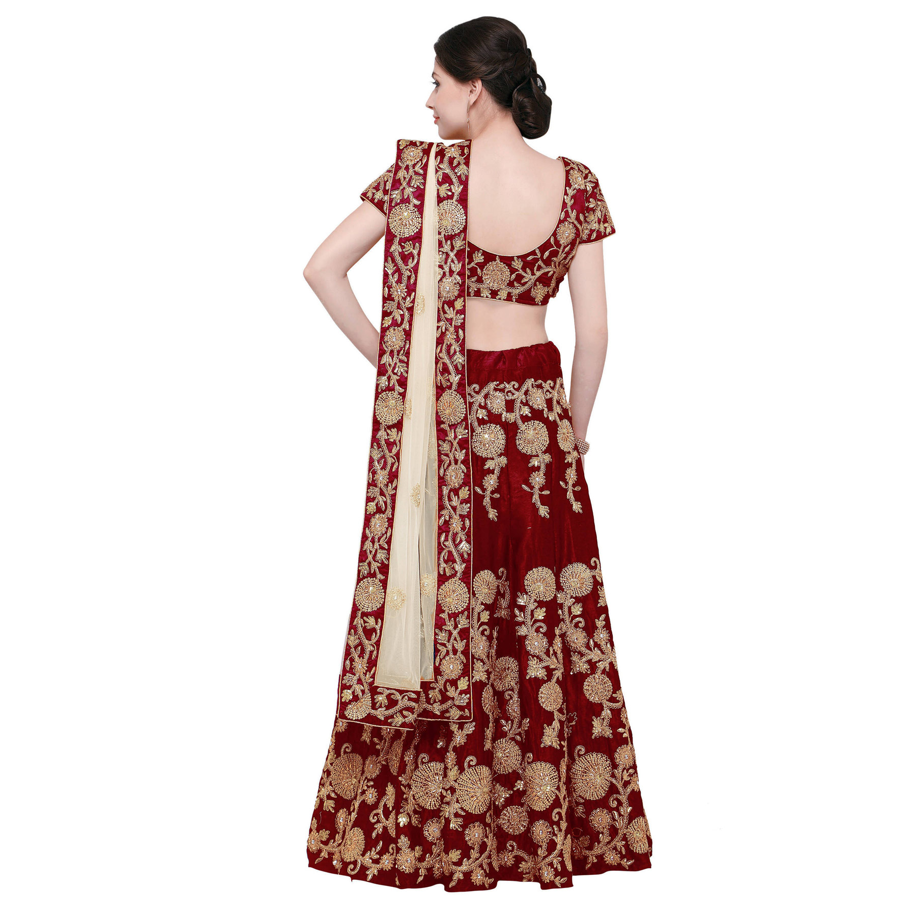 Beautiful Maroon Designer Embroidered Velvet Lehenga Choli