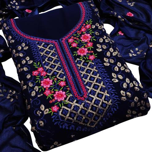 Pleasance Dark Blue Colored Partywear Embroidered Georgette Dress Material