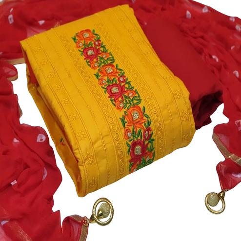 Flaunt Yellow Colored Partywear Embroidered Cotton Dress Material