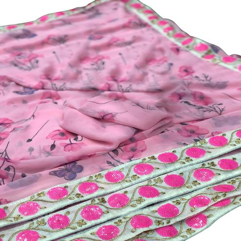Intricate Pink Colored Partywear Printed Georgette Saree
