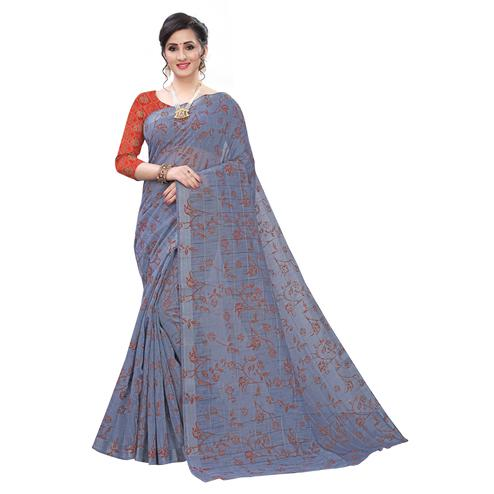 Radiant Grey Colored Casual Wear Printed Cotton Blend Saree