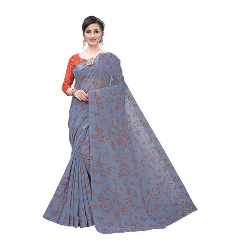 Pleasant Grey Colored Casual Wear Printed Cotton Blend Saree