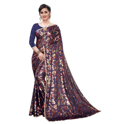 Energetic Blue Colored Casual Wear Printed Lycra Blend Saree
