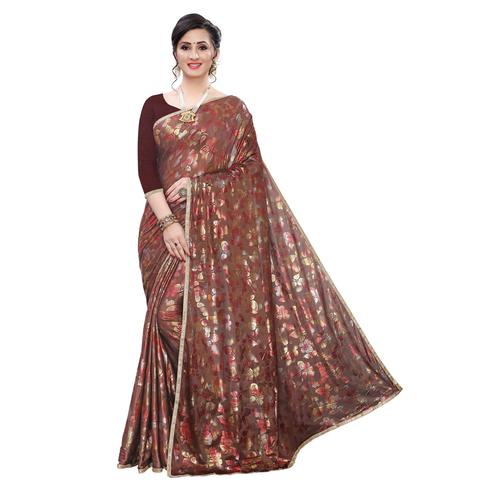 Glowing Brown Colored Casual Wear Printed Lycra Blend Saree