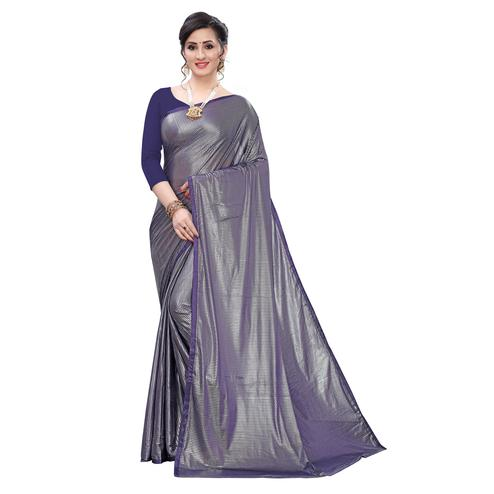 Exceptional Blue Colored Casual Wear Printed Soft Lycra Blend Saree