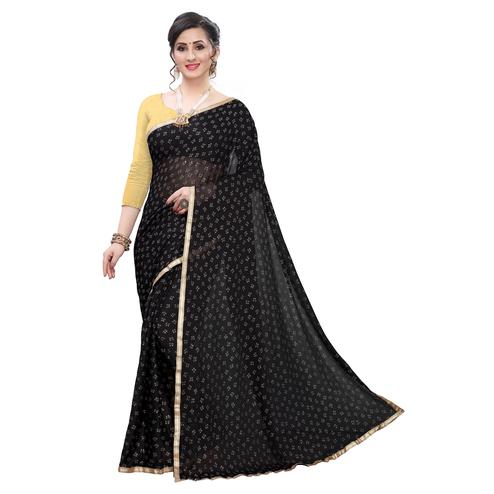 Unique Black Colored Casual Wear Printed Lycra Blend Saree
