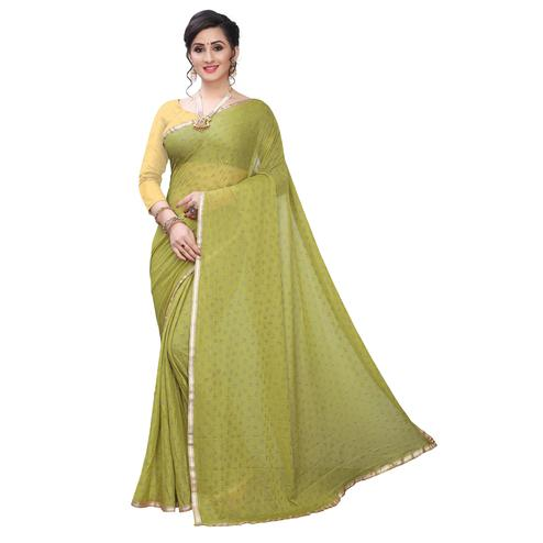 Refreshing Mehendi Green Colored Casual Wear Printed Lycra Blend Saree