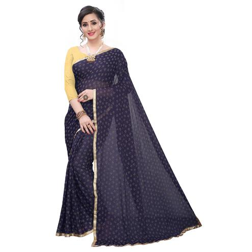 Magnetic Navy Blue Colored Casual Wear Printed Lycra Blend Saree
