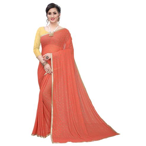 Hypnotic Peach Colored Casual Wear Printed Lycra Blend Saree