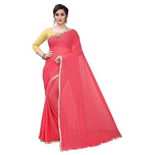 Flattering Pink Colored Casual Wear Printed Lycra Blend Saree