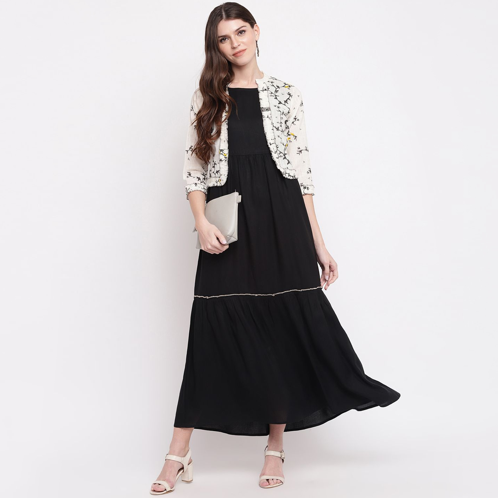 Glowing Black Colored Casual Wear Printed Ankle Length Cotton Blend Kurti With Jacket