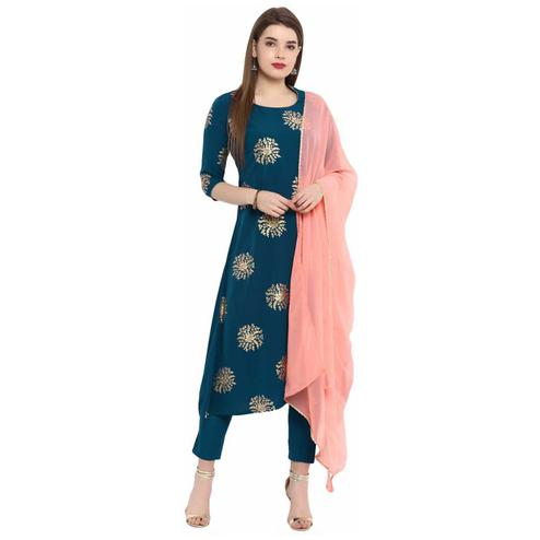 Refreshing Teal Blue Colored Party Wear Foil Printed Calf Length Rayon Kurti-Pant Set With Dupatta