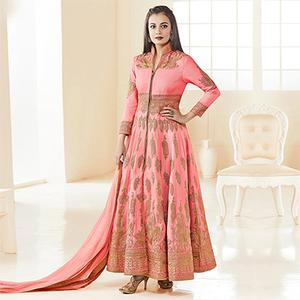 Peach Heavy Embroidered Work Anarkali Suit