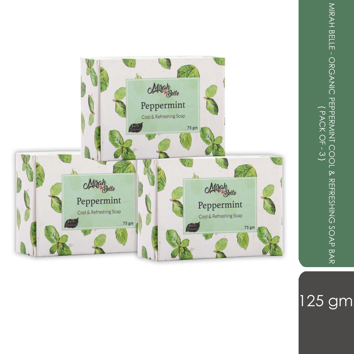 Mirah Belle - Organic Peppermint Cool and Refreshing Soap Bar (Pack of 3)