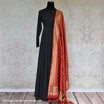 Lovely Black Designer Rayon Kurta With Banarasi Silk Dupatta