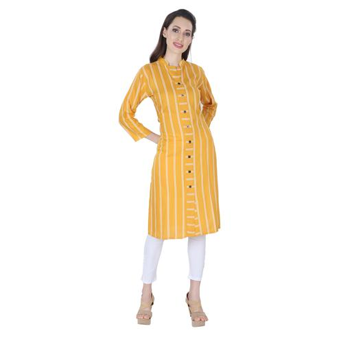 NFI essentials - Gold Colored Casual Striped Printed Rayon Kurti