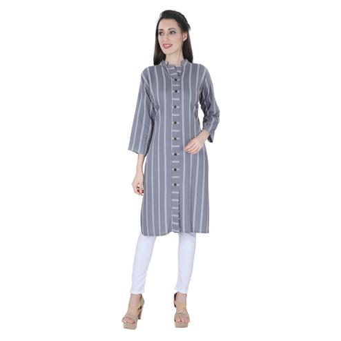 NFI essentials - Grey Colored Casual Striped Printed Rayon Kurti
