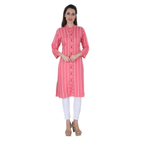 NFI essentials - Pink Colored Casual Striped Printed Rayon Kurti