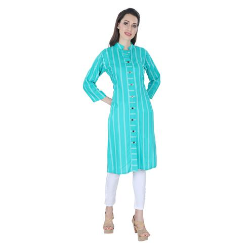 NFI essentials - Aqua Blue Colored Casual Striped Printed Rayon Kurti