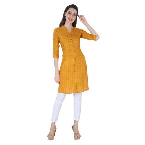 NFI essentials - Gold Colored Casual Checked Printed Rayon Kurti