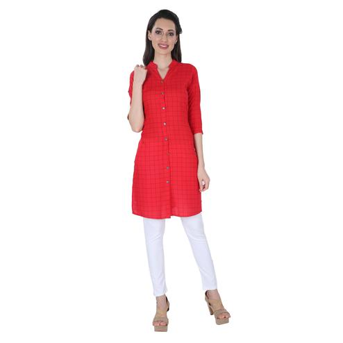 NFI essentials - Red Colored Casual Checked Printed Rayon Kurti