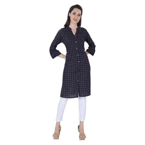 NFI essentials - Navy Blue Colored Casual Checked Printed Rayon Kurti