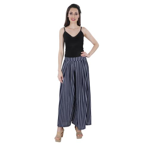 NFI essentials - Blue Colored Casual Striped Printed Lycra Palazzo
