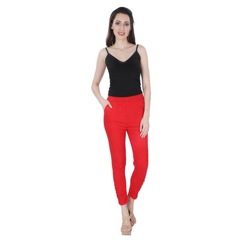 NFI essentials - Red Colored Casual Lycra Leggings