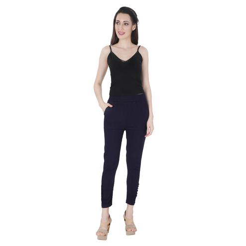 NFI essentials - Navy Blue Colored Casual Lycra Leggings