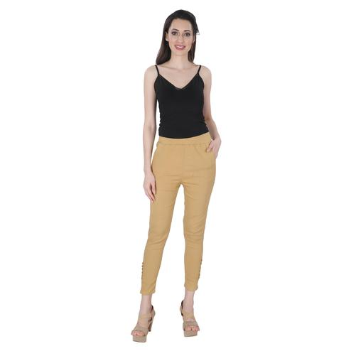 NFI essentials - Beige Colored Casual Lycra Leggings