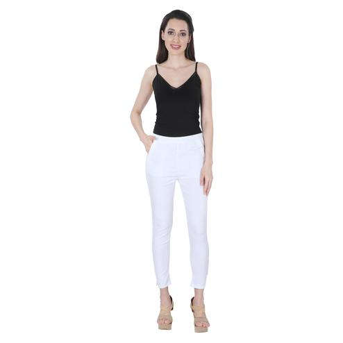 NFI essentials - White Colored Casual Lycra Leggings