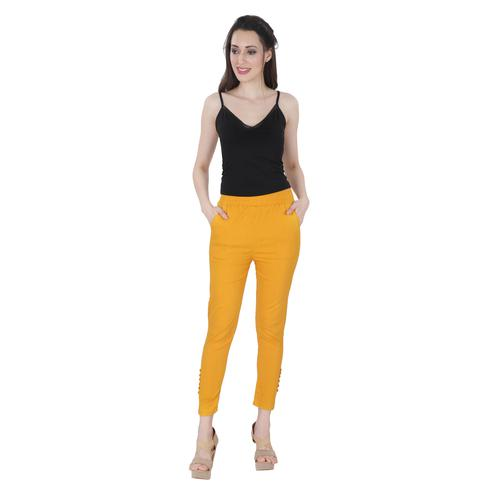 NFI essentials - Yellow Colored Casual Lycra Leggings