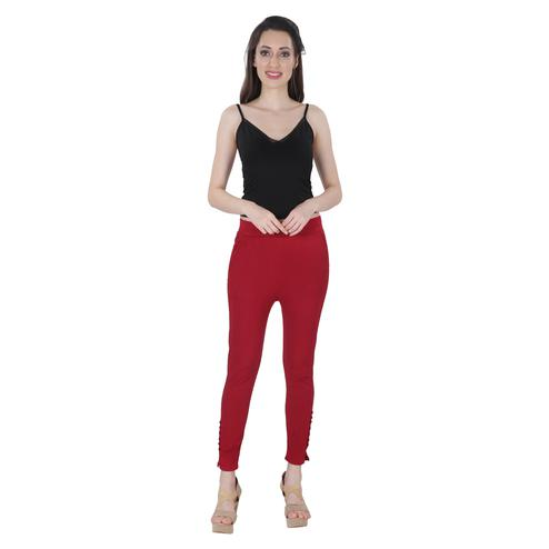 NFI essentials - Maroon Colored Casual Lycra Leggings