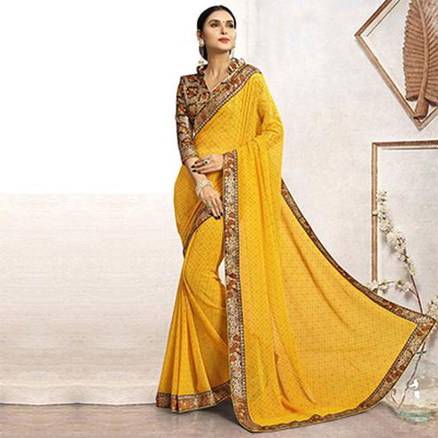 Yellow Casual Printed Wear Faux Georgette Saree