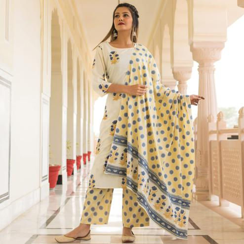 Delightful White-Yellow Colored Casual Wear Printed Knee Lenght Cotton Kurti-Pant Set With Dupatta