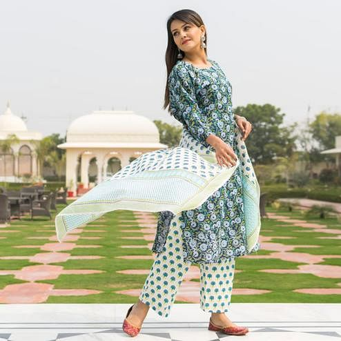 Exceptional Blue Colored Casual Wear Printed Knee Lenght Cotton Kurti-Pant Set With Dupatta