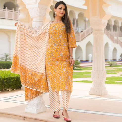 Unique Light Orange Colored Casual Wear Printed Knee Lenght Cotton Kurti-Pant Set With Dupatta